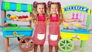 Диана играет в продавца мороженного со своим близнецом!
