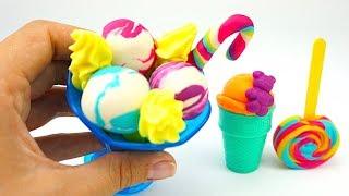 Пластилин для детеи, учимся лепить мороженое и леденцы