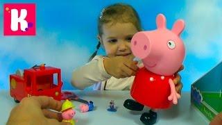 Свинка Пеппа гигант распаковка сюрпризов игрушки и пожарная машина Giant Peppa Pig