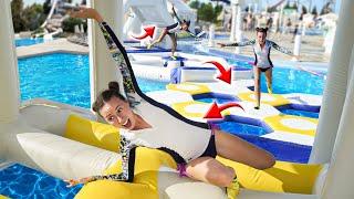 ПОЛОСА ПРЕПЯТСТВИЙ в БАССЕЙНЕ - Челлендж c парнем - Аквапарк WaterWorld - Кипр #7 Elli Di
