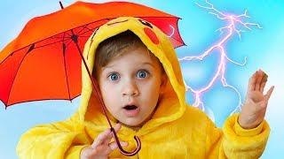 Изучите цвета с зонтиками - Диана и Рома.