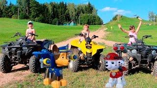 Квадроциклы Щенячии Патруль катается на квадроцикле Гонки на квадроциклах Детскии квадроцикл Квадр