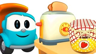 Мультфильм про машинки - Грузовичок Лева Малыш собирает тостер