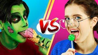 Вкусняшки на Хэллоуин против обычной еды Челлендж - 8 идей