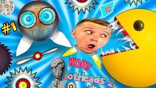 ЧТО ТУТ ПРОИСХОДИТ? ГОЛОВА ЛЕТАЕТ ПАКМАН НАПАДАЕТ в игре BotHeads 2 Видео для детей от FFGTV