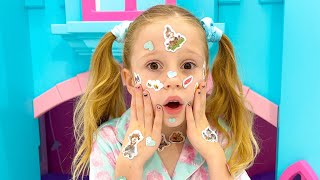Настя идет к доктору папе. Nastya pretends that she has a sticker pox and goes to Dr Dad
