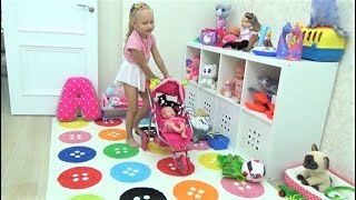 Новые игрушки Алисы КУКОЛКА Лялечка и Динозаврик с КОШКОЙ  New TOYS for children