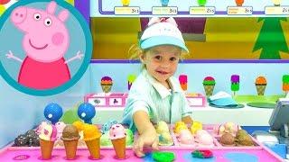 Свинка Пеппа ИГРАЕМ ВМЕСТЕ на СУПЕР детской площадке в повара и кондитера ВЛОГ peppa pig playground