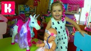 Беби Борн игрушечная лошадь единорог с длинными волосами распаковка игрушки Unicorn Baby Born toy