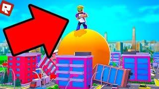 Roblox - Разрушил весь город огромным шаром в режиме Boulder Simulator