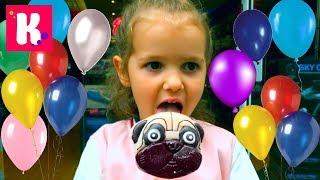 4 000 000 Subs Гигантская собака конфета Шарики у 4-х летней Кати  Giant candy Balloons & party Cake