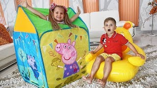 Diana and Roma play with Peppa Pig toy tent. Диана и Рома играют с игрушечной палаткой Peppa Pig