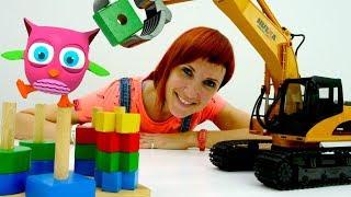 Игрушка Экскаватор и пирамидка. Развивающие игрушки для малышей.