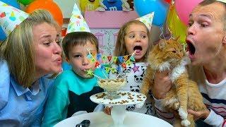 День Рождения Мурки - 2 года! Макс и Катя купили Попугайчиков!