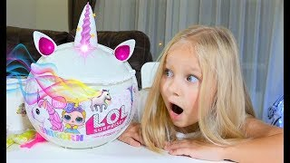 Шар ЕДИНОРОГ  с сюрпризом ЛОЛ! Алиса играет с Пупси СЛАЙМ игрушка!