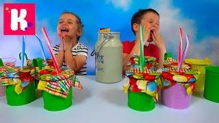 Молочный Челлендж угадываем вкус растительное молоко и коровье Milk Challenge with Ice cream candy