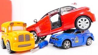 Машинки Басс, Спиди и конструктор: Ауди А1 и Chevrolet. Игрушки для детей