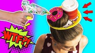 Повторяю безумную прическу из интернета  Завтрак из волос  Пончик и кофе на голове  Afinka
